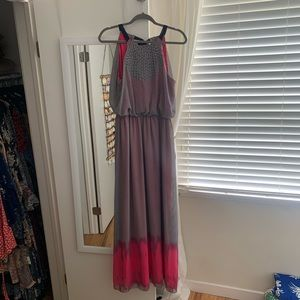 Vince Camuto Navy/White Striped Maxi w Pop of Pink